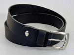 Gürtel Leder schwarz, 3.5 cm, Nickel silber, selber kürzbar