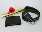 Portemonnaie mit Gürtel Leder schwarz, Geschenkverpackung